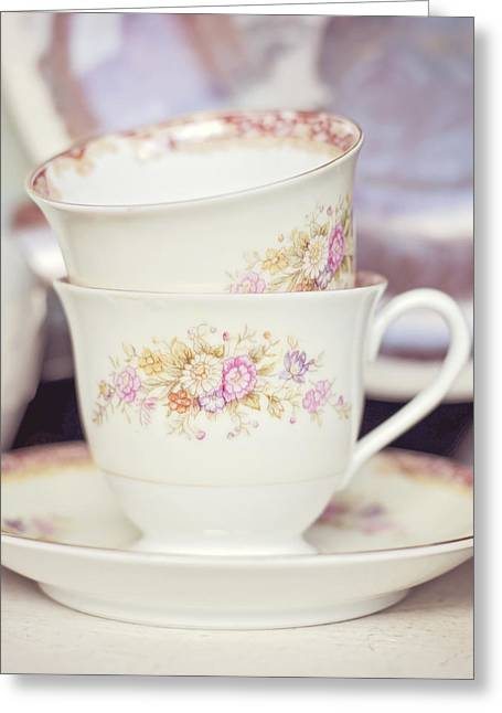 Tea Party Greeting Cards - Two for Tea Greeting Card by Heather Applegate