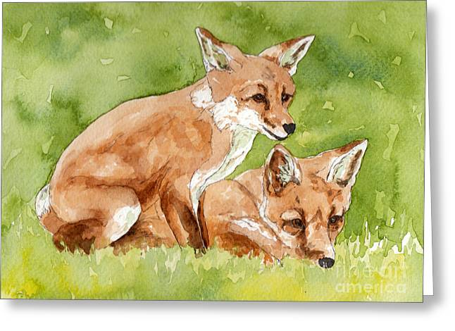 Backyard Wildlife Greeting Cards - Two fox cubs watercolor Greeting Card by Cherilynn Wood