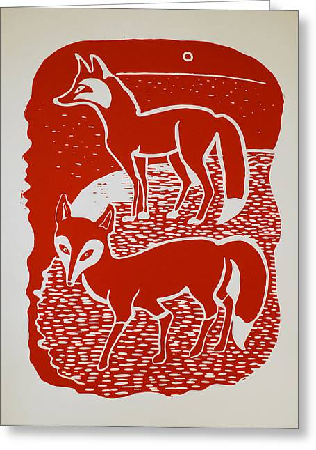 Linocut Reliefs Greeting Cards - Two Foxes Greeting Card by Vadim Vaskovsky