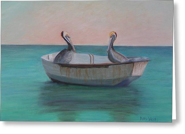 Pelican Paintings Greeting Cards - Two Friends in a Dinghy Greeting Card by Patty Weeks
