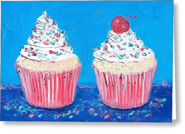 Frosting Greeting Cards - Two frosted cupcakes Greeting Card by Jan Matson