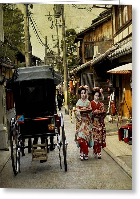 Young Lady Photographs Greeting Cards - Two Geishas and a Buggy Greeting Card by Juli Scalzi