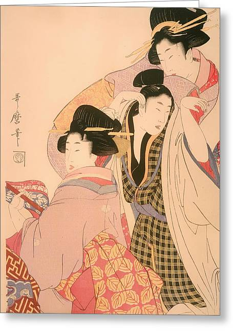 Clients Greeting Cards - Two Geishas and a Tipsy Client Greeting Card by Kitagawa Utamaro