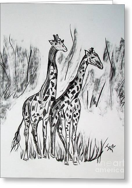 Hand Drawn Greeting Cards - Two Giraffes in Graphite Greeting Card by Janice Rae Pariza