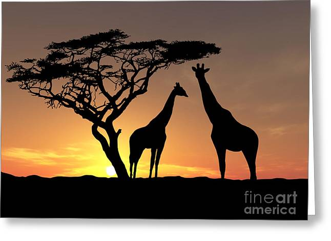 Park Scene Paintings Greeting Cards - Two Giraffes Greeting Card by James Ashley