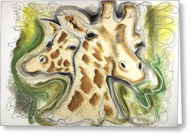 Jordan Drawings Greeting Cards - Two Giraffes Greeting Card by Mark Jordan