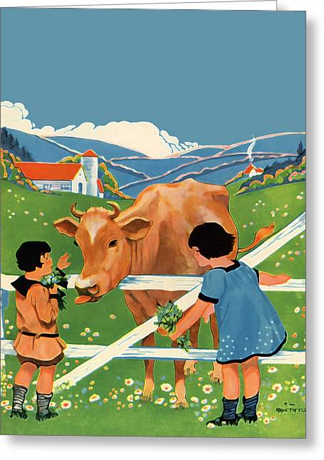 Vintage Painter Greeting Cards - Two Girls and Cow Greeting Card by The  Vault - Jennifer Rondinelli Reilly