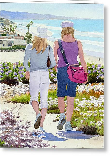Southern Scene Greeting Cards - Two Girls at Dog Beach Del Mar Greeting Card by Mary Helmreich