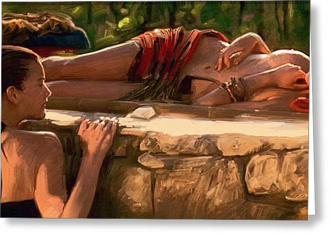 Realism Greeting Cards - Two girls by the pool Greeting Card by Dominique Amendola