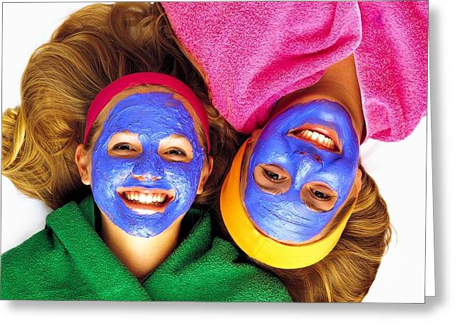 18-19 Years Greeting Cards - Two Girls Getting Pampered Greeting Card by Ron Nickel