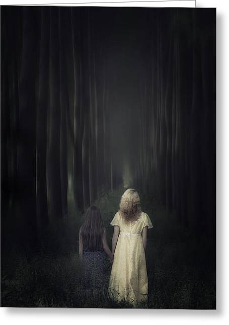 Bleak Greeting Cards - Two Girls In A Forest Greeting Card by Joana Kruse