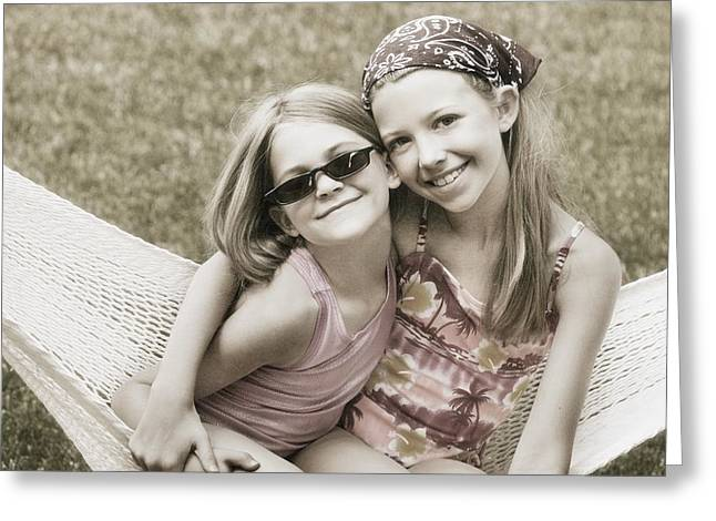 Arm Around Greeting Cards - Two Girls In A Hammock Greeting Card by Don Hammond