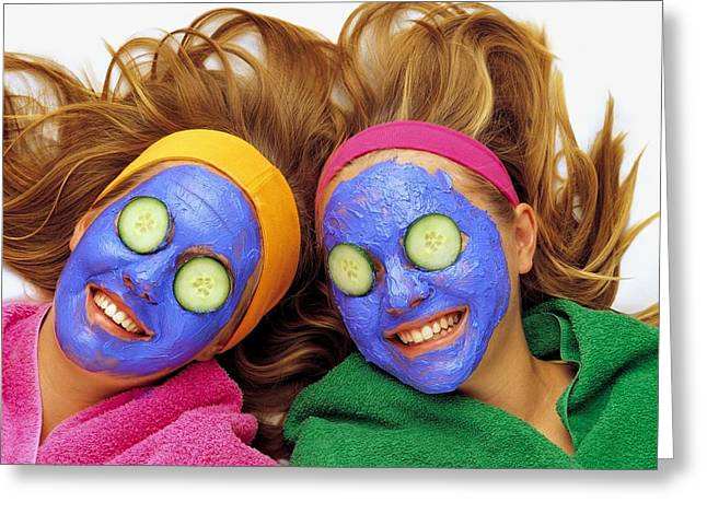 Wellbeing Greeting Cards - Two Girls Pampering Themselves Greeting Card by Ron Nickel