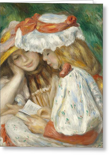 Reading Images Greeting Cards - Two Girls Reading Greeting Card by Renoir