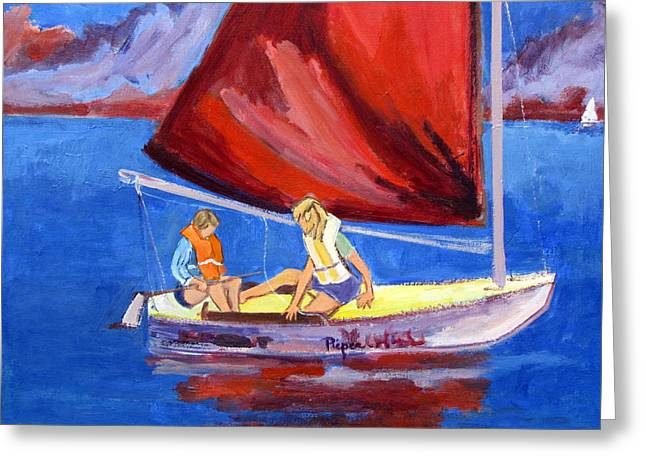 Wind In The Sails Greeting Cards - Two Girls Set to Sail with Red Sail Greeting Card by Betty Pieper