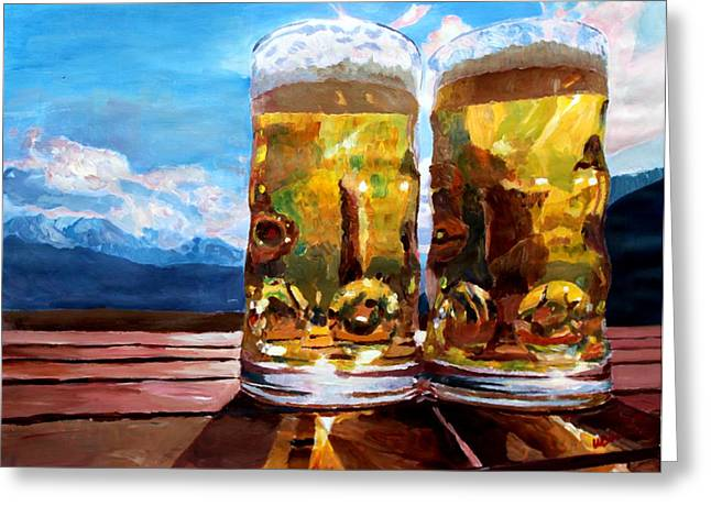 Bernstein Greeting Cards - Two Glasses of Beer with Mountains Greeting Card by M Bleichner