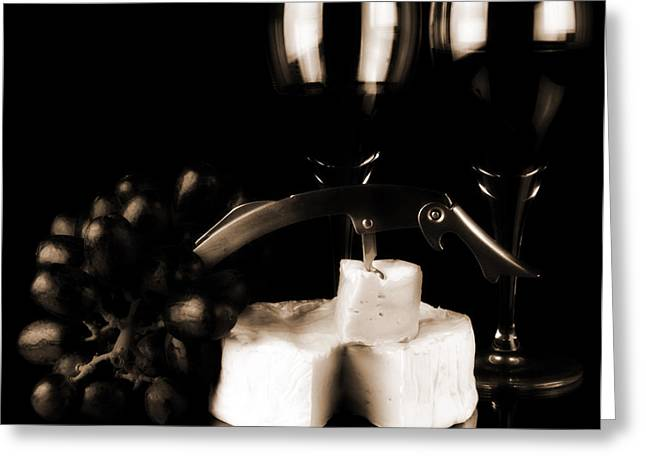 Two Glasses Of Red Wine A Cammembert Greeting Card by Toppart Sweden
