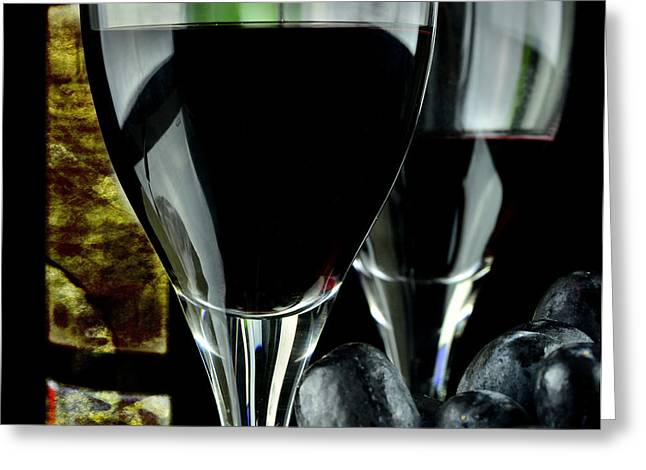 Winemaking Greeting Cards - Two glasses with red wine Greeting Card by Toppart Sweden