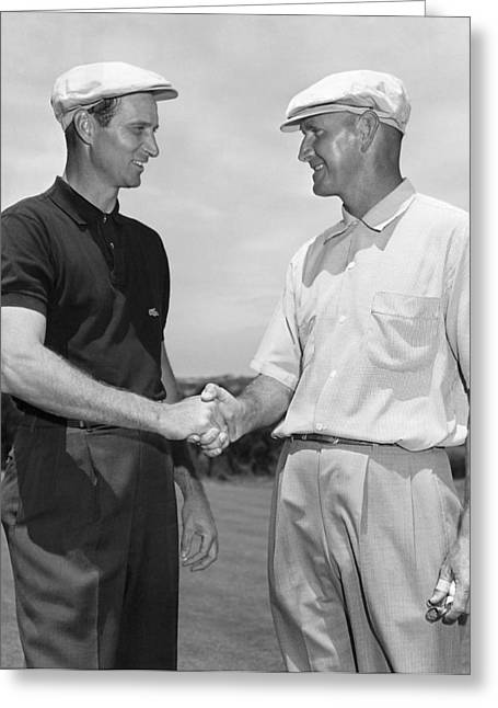 Two Golfers Shake Hands Greeting Card by Underwood Archives