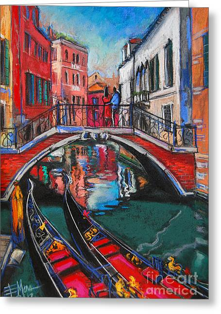 Emona Greeting Cards - Two Gondolas In Venice Greeting Card by Mona Edulesco