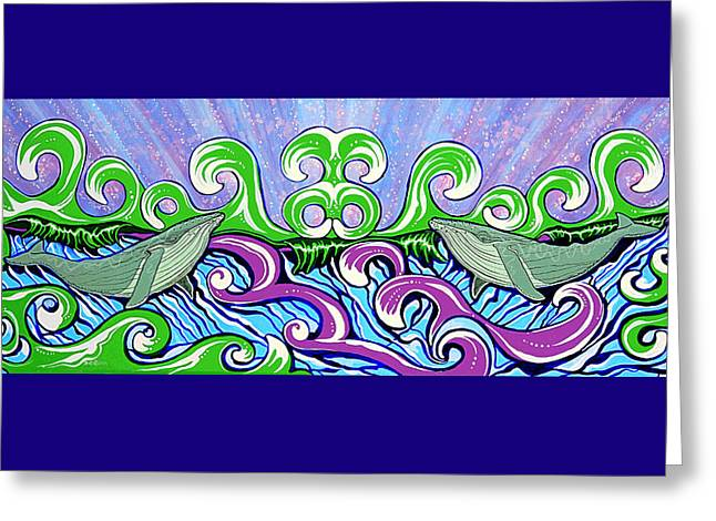 Two Gray Whales Greeting Card by Debbie Chamberlin