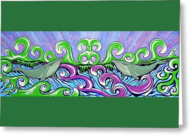 Debbie Chamberlin Greeting Cards - Two Gray Whales Greeting Card by Debbie Chamberlin