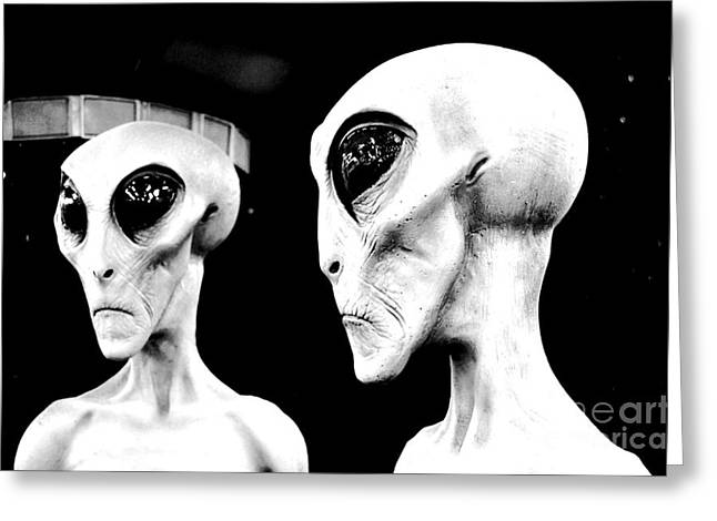 Are We Alone Greeting Cards - Two Grey Aliens Science Fiction Portrait Black and White Conte Crayon Digital Art Greeting Card by Shawn O