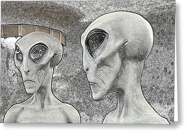 Are We Alone Greeting Cards - Two Grey Aliens Science Fiction Portrait Colored Pencil Digital Art Greeting Card by Shawn O