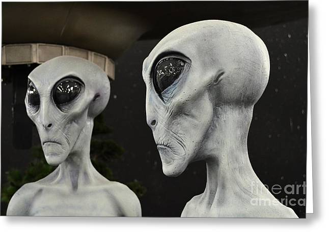 Are We Alone Greeting Cards - Two Grey Aliens Science Fiction Portrait Greeting Card by Shawn O