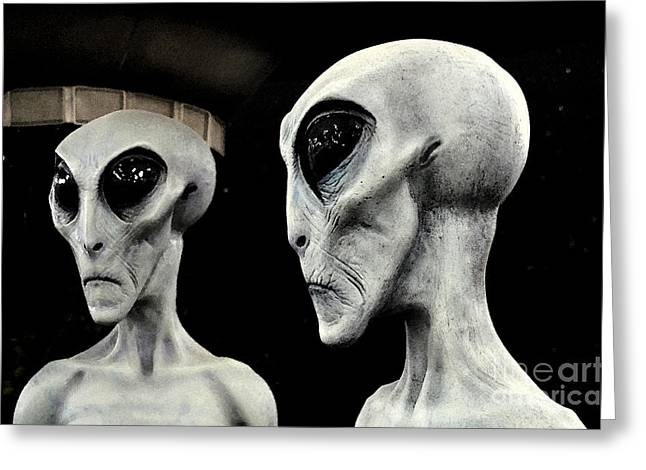 Are We Alone Greeting Cards - Two Grey Aliens Science Fiction Portrait Watercolor Digital Art Greeting Card by Shawn O