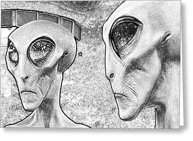 Are We Alone Greeting Cards - Two Grey Aliens Science Fiction Square Format Black and White Colored Pencil Digital Art Greeting Card by Shawn O
