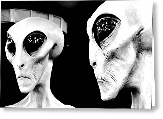 Are We Alone Greeting Cards - Two Grey Aliens Science Fiction Square Format Black and White Conte Crayon Digital Art Greeting Card by Shawn O