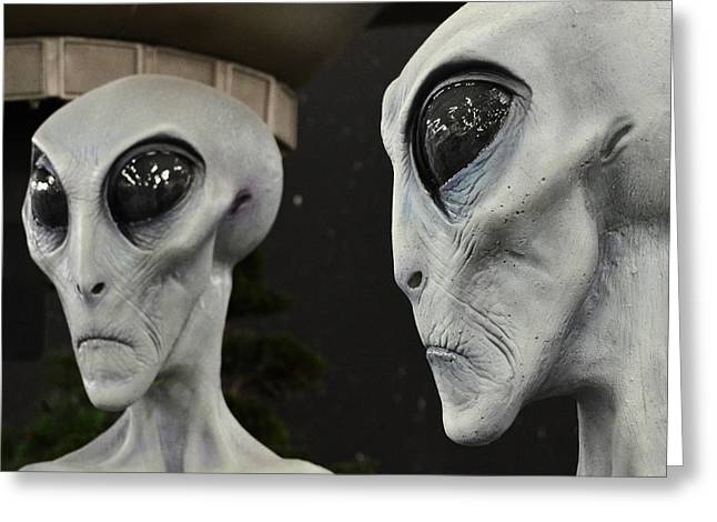 Are We Alone Greeting Cards - Two Grey Aliens Science Fiction Square Format Greeting Card by Shawn O