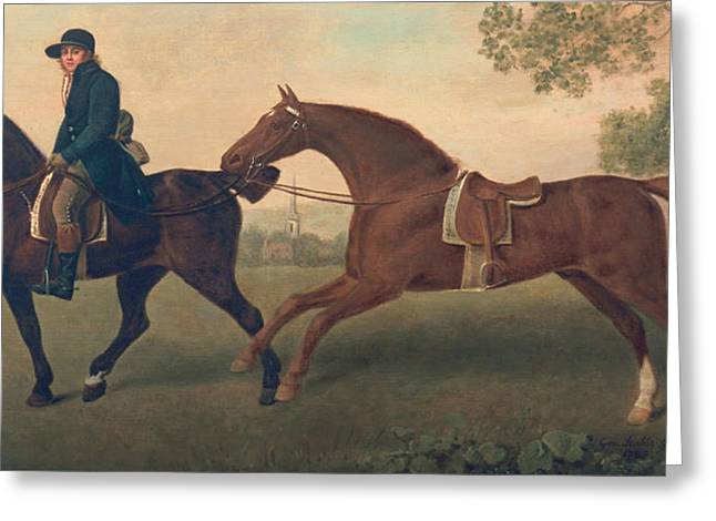 Trot Greeting Cards - Two Hacks Greeting Card by George Stubbs