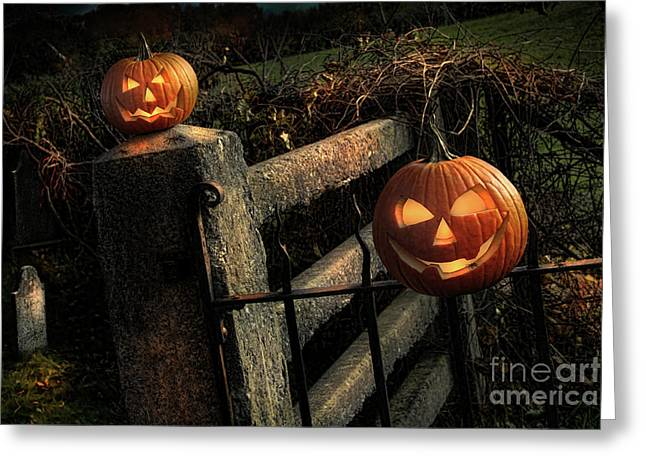 Orange Pumpkin Greeting Cards - Two halloween pumpkins sitting on fence Greeting Card by Sandra Cunningham