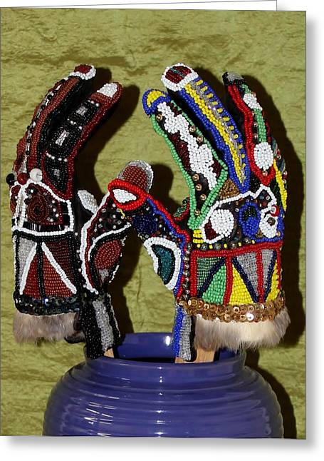 Beaded Gloves Greeting Cards - Two Hands Whole Greeting Card by Ann Laase Bailey
