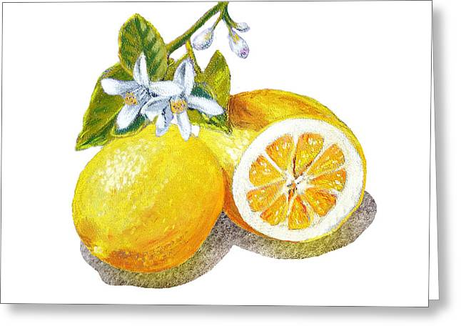 Lemon Art Paintings Greeting Cards - Two Happy Lemons Greeting Card by Irina Sztukowski