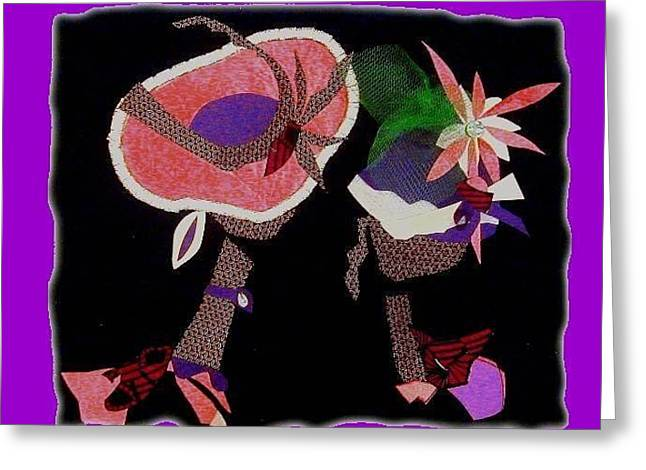 Hat Tapestries - Textiles Greeting Cards - Two Hat Ladies Greeting Card by Ruth Yvonne Ash