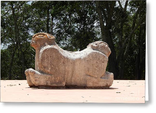 Mayan Jaguar Greeting Cards - Two Headed Jaguar Throne At Uxmal Yucatan Mexico Greeting Card by Michael Hoard