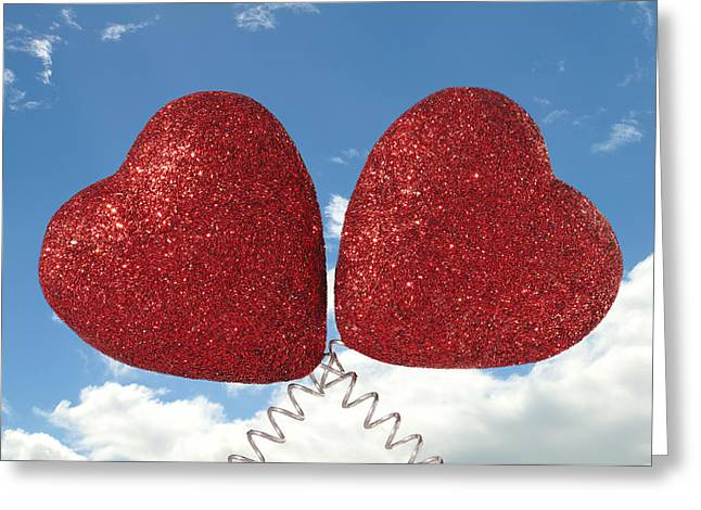 Deely Bopper Greeting Cards - Two Hearts Greeting Card by Chay Bewley