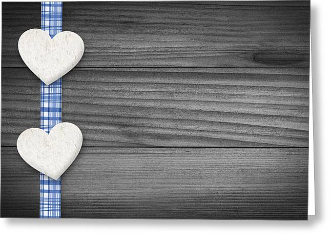 Textured Drawings Greeting Cards - Two hearts laying on wood Greeting Card by Aged Pixel