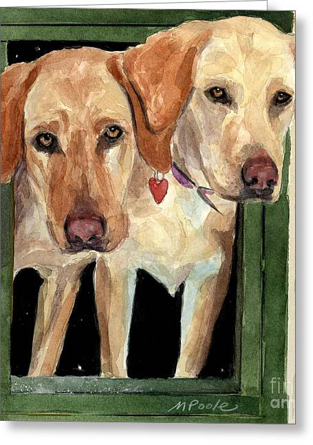Golden Lab Greeting Cards - Two Hearts Greeting Card by Molly Poole