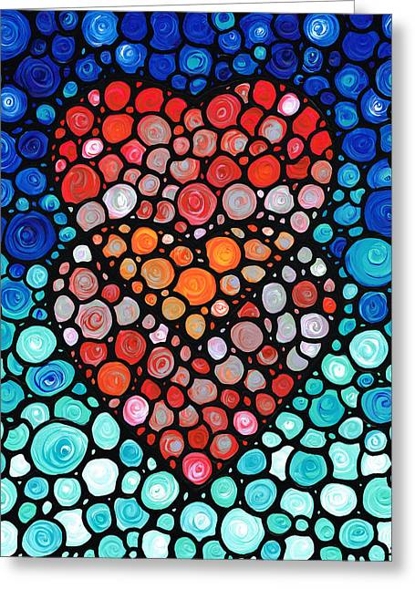 Anniversary Gift Greeting Cards - Two Hearts - Mosaic Art By Sharon Cummings Greeting Card by Sharon Cummings