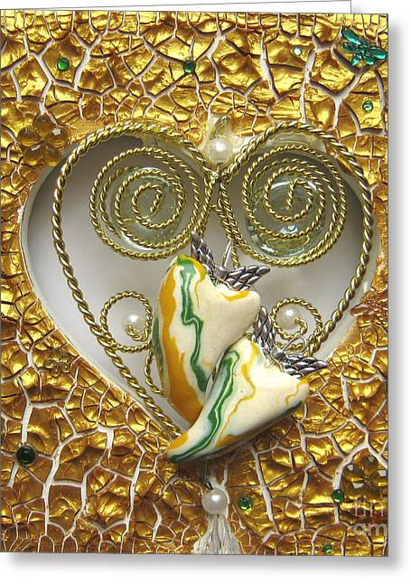 Spiritual Art Reliefs Greeting Cards - Two hearts one - healed and happy Greeting Card by Heidi Sieber