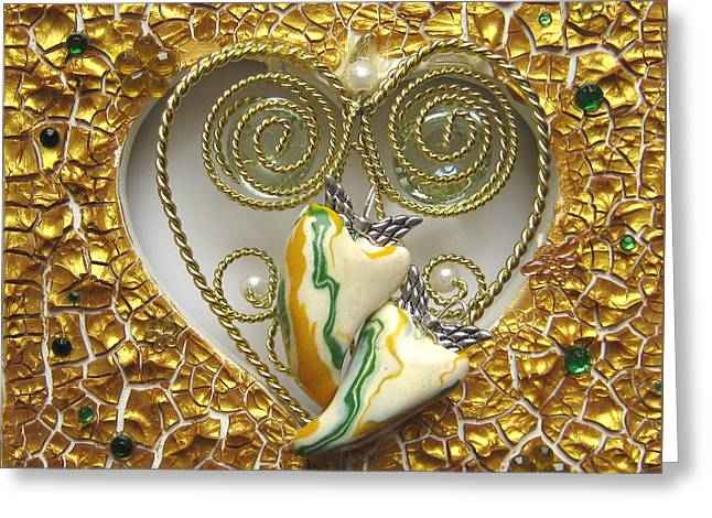 Spirit Reliefs Greeting Cards - Two hearts one - healed and happy Greeting Card by Heidi Sieber