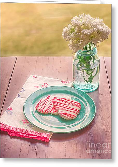Water Jars Greeting Cards - Two Hearts Picnic Greeting Card by Kay Pickens