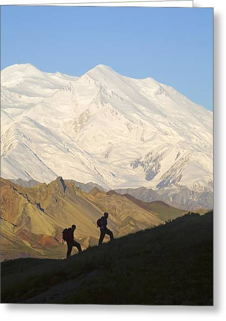 Northside Greeting Cards - Two Hikers View Mckinley At Grassy Pass Greeting Card by Jeff Schultz