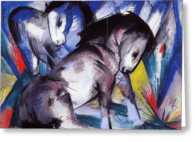 Expressionist Horse Greeting Cards - Two Horses 1913 Greeting Card by Franz Marc