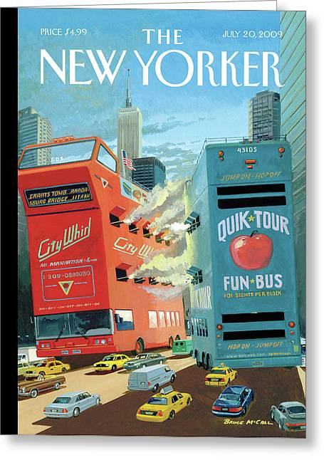 Two Huge Double Decker Tourist Buses Shooting Greeting Card by Bruce McCall