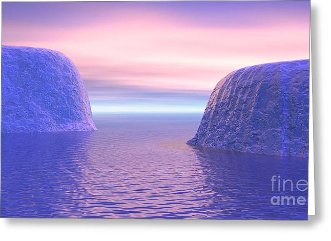 Ocean Vista Digital Art Greeting Cards - Two Icebergs Face To Face In The Ocean Greeting Card by Elena Duvernay